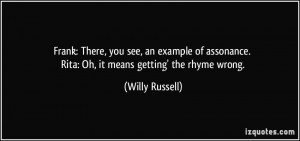 ... . Rita: Oh, it means getting' the rhyme wrong. - Willy Russell