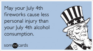 Alcohol Fireworks Fourth Of July Independence Day Funny Ecard / Ind...