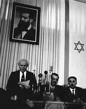 David Ben Gurion, Perdana Menteri Israel yang pertama. Kelihatan di ...