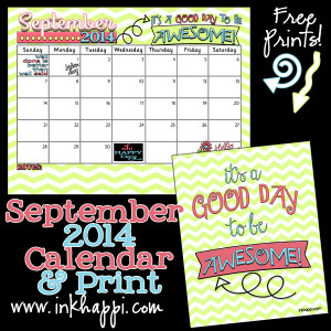 September 2014 Calendar and quote prints. Free printables from ...