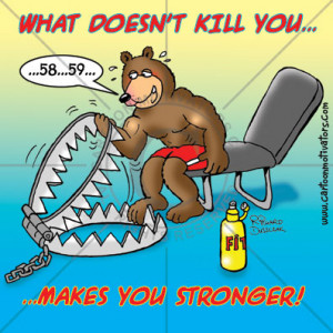 Motivational cartoon of brown bear doing exercise curls on a bench ...