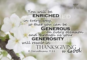 Generosity and thanksgiving...