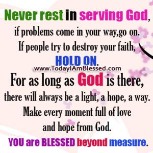 Never Rest in Serving God