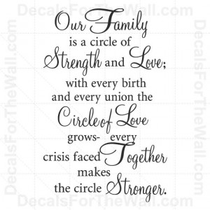 Our Family is a Circle of Strength and Love Wall Decal Vinyl Art Quote ...