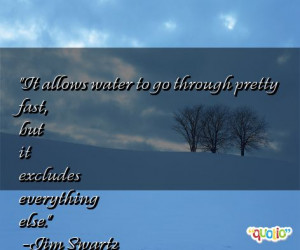 It allows water to go through pretty fast, but it excludes everything ...