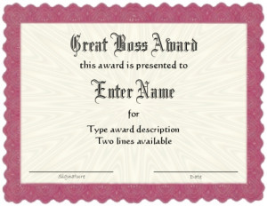 Best Boss Award Certificate Template