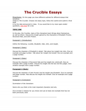 An essay on the crucible
