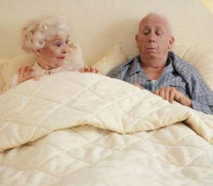 Funny old couple in bed joke picture