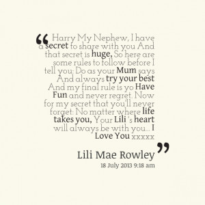 Quotes Picture: harry my nephew, i have a secret to share with you and ...
