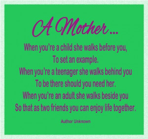 When you're a child she walks before you,