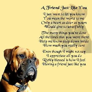 Personalised Coaster - Friend Poem - Boxer Dog Design + FREE GIFT BOX ...