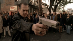 Steve Buscemi holds a M1911A1 as Tony Blundetto on The Sopranos .