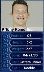 Tony Romo, Quarterback, Dallas Cowboys