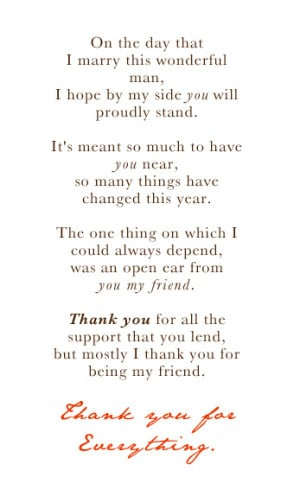 think my thank you poem is to my bridesmaid poetry hanky