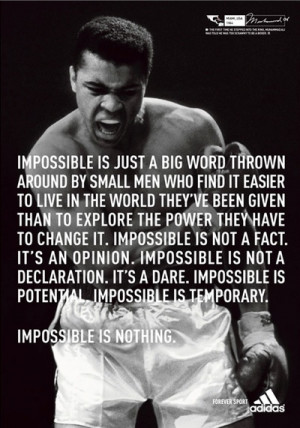 ... Adidas, Impossible Muhammad Ali, Quoteabl Quote, Motivation Quote