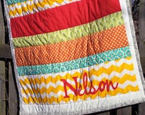 ... Wedding Quilt / Housewarming Gift - Stripe Applique Family Quilt