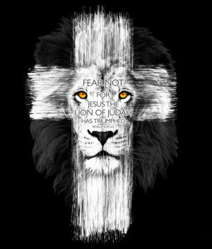 just the cross w lion s face bible verse in a banner beneath christian ...