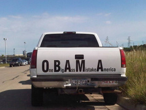Obama Acronym Signs on the Rear of Trucks