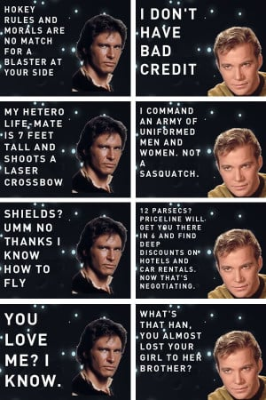 Over at the Han vs. Kirk site, the ladies' men of the Star Wars and ...