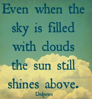 Sun still shines above clouds quote via www.KatrinaMayer.com