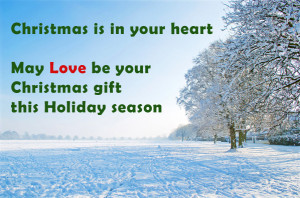 Christmas postcard of winter landscape: May love be your Christmas ...