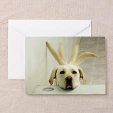 Yellow lab resting head on crate wag Greeting Card for