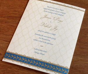 Letterpress Wedding Invitations with Indian Designs