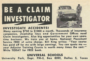 1961 Ad: Be a Claim Investigator