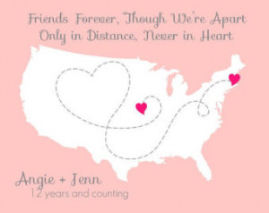 best friend long distance usa map p rint with heart friendship united ...