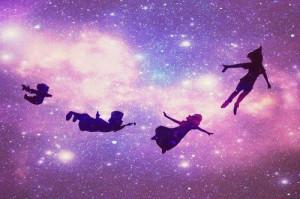 dream, fly, galaxy, peter pan, star
