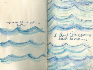 blue, book, drawing, ocean, painting, photo, photography, sketch, text ...