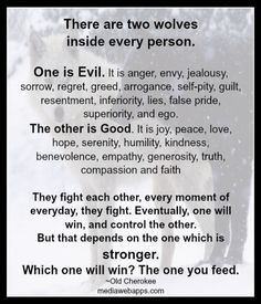 are two wolves inside every person. One is Evil. The other is Good ...