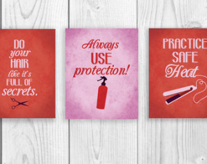 hair salon art print series three 8 x 10 art prints funny hair quotes ...
