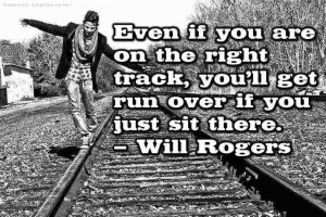 Boy walking on railroad tracks - Funny inspirational quotes