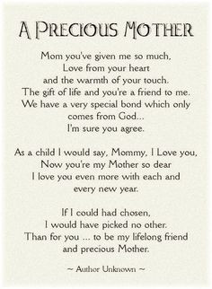 Mother's Day Poem. Thanks Mom. Miss you. xoxo courtesy of @Heather ...