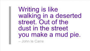 Writing is like walking in a deserted street. Out of the dust in the ...
