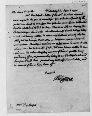 Thomas Jefferson to Martha Jefferson Randolph, April 6, 1792