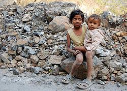 Children of road workers near Rishikesh , India .