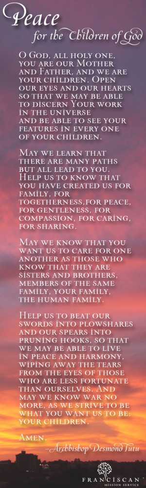 prayer for peace by Archbishop Desmond Tutu of South Africa http://ow ...