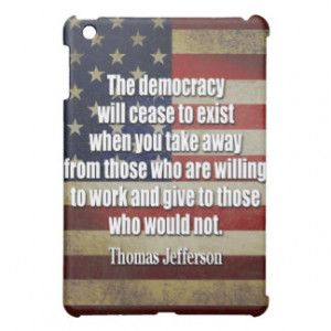 Jefferson quote - Democracy will cease to exist Cover For The iPad ...
