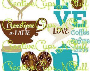 Coffee Love Design Set, I Love You a Latte, Coffee Bean Heart, Cup ...