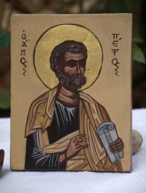 St. Peter- Apostle Simon Peter, handmade byzantine icon, russian greek ...