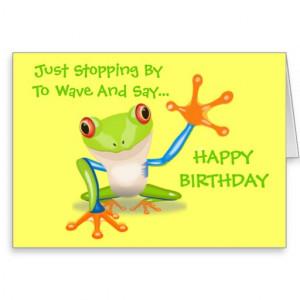Cute Frog Funny Animal Kids Happy Birthday Card
