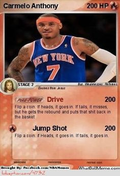 Carmelo Anthony Pokemon Card! - http://weheartlakers.com/nba-funny ...