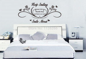 Keep Smiling Wall Art Quotes Removable Wall Stickers Lettering Vinyl ...