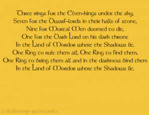 ... Ring to rule them all, One Ring to find them,One Ring to bring them