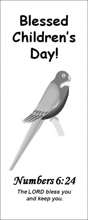 Bird And Bible Quotes Bookmark of Children's Day Blessings