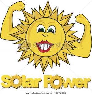 Solar Power Text With Happy