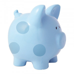 Blue Polka Dot Ceramic Personalised First Piggy Bank