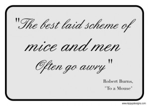 The best laid schemes of mice and men / Often go awry
